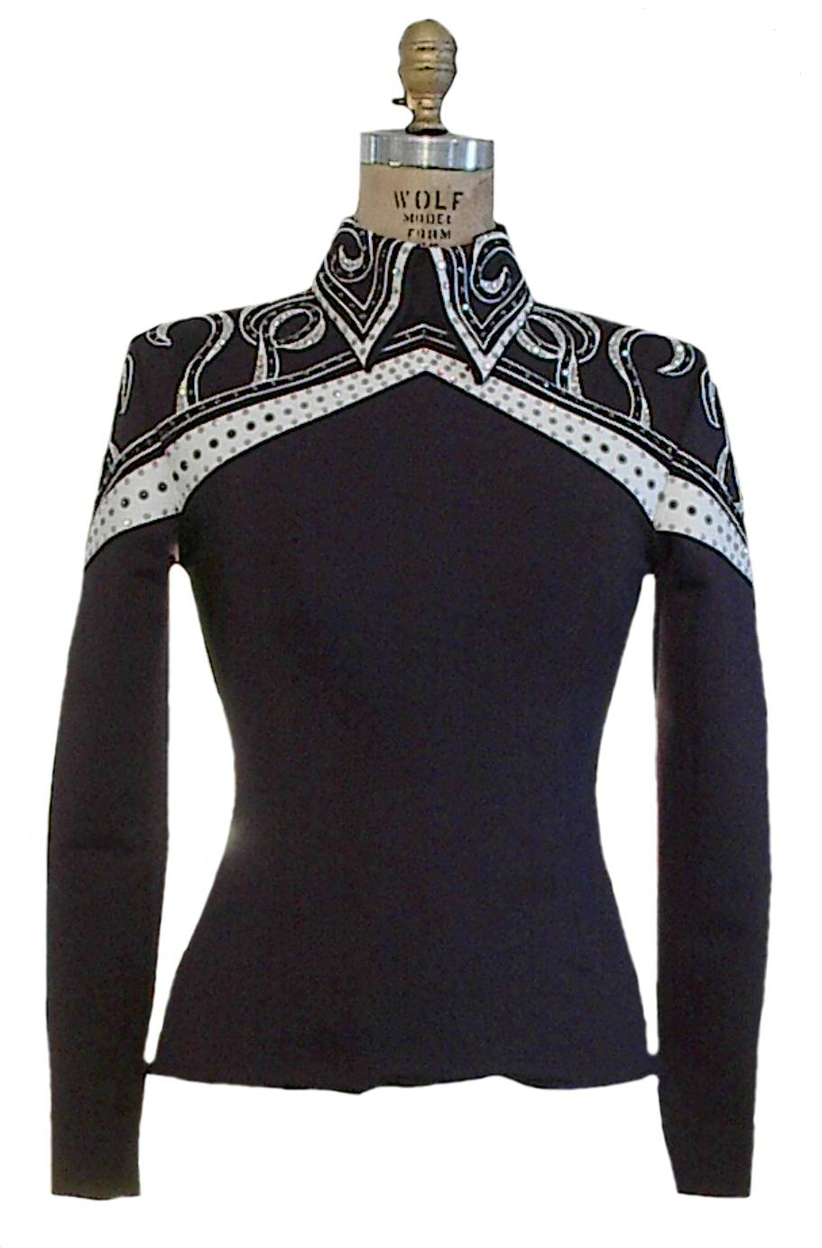 "#0505 ""Mountain Winter"" Black, White and Grey Equitation Show Blouse, Ladies XS, 6351-48"