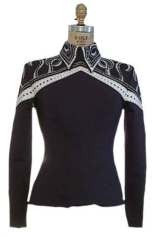 "# 0505 ""Mountain Winter"" Black, White and Grey Equitation Show Blouse, Ladies XS, 6351-48"