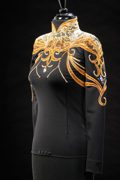 Gold Black Spandex with Bronze Show Blouse XS 3202-47