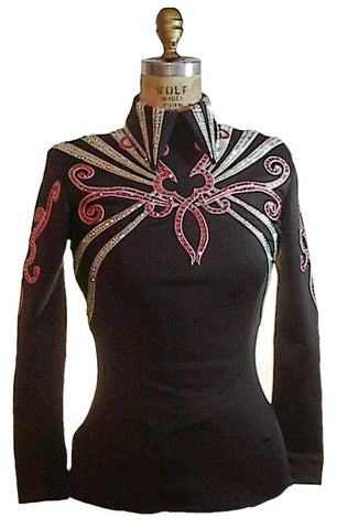 Black Show Blouse with Pink, White Trim, Ladies XS, 1787d