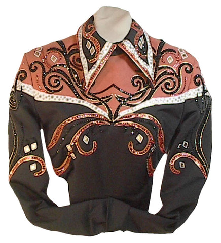 Black and Burnt Orange Equitation Horsemanship Blouse, Ladies M, Budget Friendly, 5045A