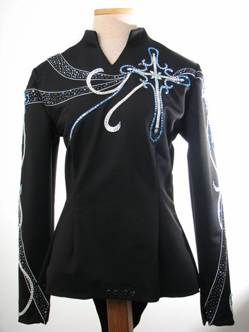 Budget Black/White Equitation Blouse, Ladies S 1654A