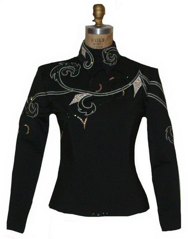 Black Horsemanship Blouse with white, Ladies M, 1781B