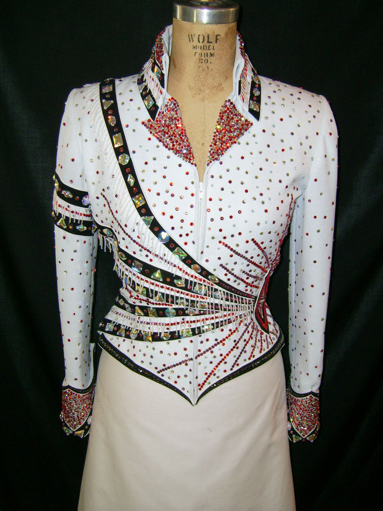 White Pleasure Jacket w/red/blk, Ladies S, 1369A
