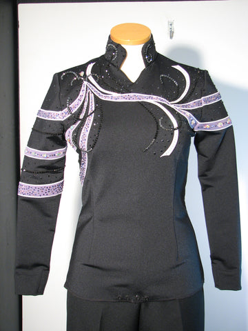 Black with white/lavender Equitation Blouse, Ladies S, 1781C