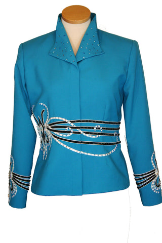 Turquoise Showmanship Jacket, Ladies L, Budget Friendly,  5047A
