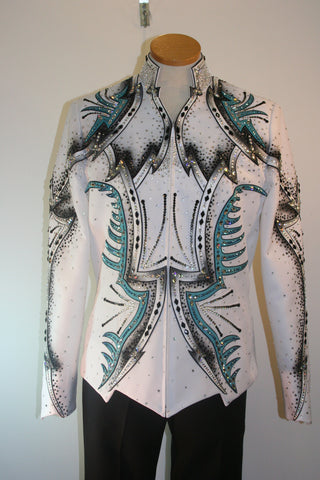 White w/black and turquoise Pleasure Jacket, Ladies XL, 5069A
