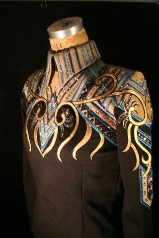 1704 black Tan Blue Equitation Horsemanship Show Blouse, Ladies M, 6355-41