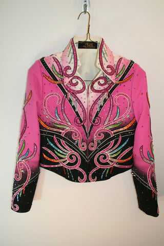Girls Pink and Multi Colored Show Jacket 1492A