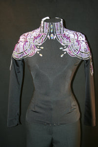 #1053 Black and Purple Show Blouse, Ladies S
