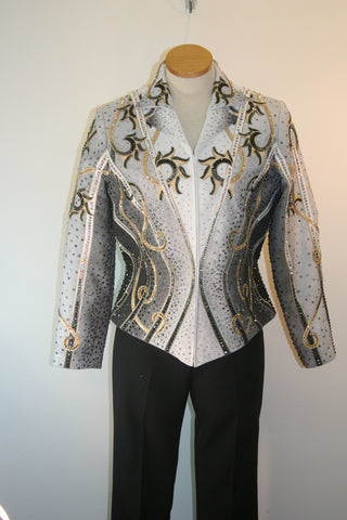 Showmanship or Pleasure Jacket, Black White Gold, Ladies L, 5067A
