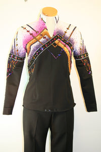 SOLD #1169 Black/White Spandex Show Blouse, Ladies M, 3201-47
