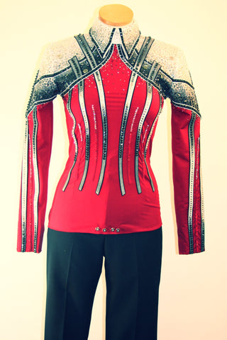Red/Black Equitation Outfit, Ladies M, 1556A-F
