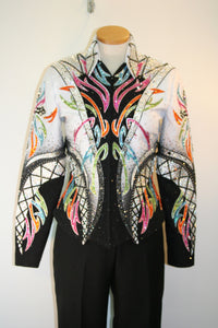 SOLD #1190 Black and White Multi Cross Show Jacket, Ladies M 3203-6
