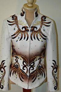 SOLD Brown and White Showmanship/Pleasure Outfit, Ladies XS, 1683ABC