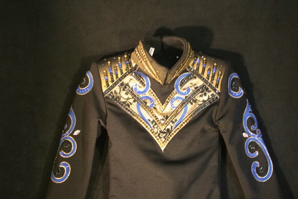 Black Royal and Bronze Show Blouse, Girls XS, 1498B