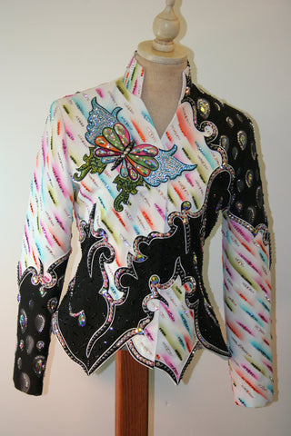 Pink and White Butterfly Show Jacket, Ladies XS, 1587AB