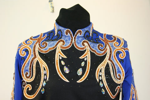SOLD 1248 Black/Royal Spandex Show Blouse, Ladies XL, 1498A