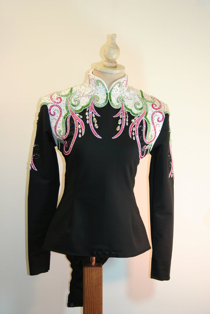 Black/White/Pink/Green Equitation Blouse, Ladies S, 5053A