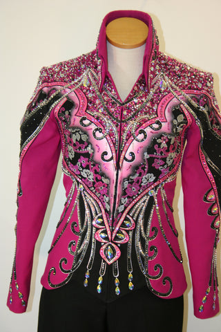SOLD  Black and Fuschia Show Jacket, Ladies S, 5109A