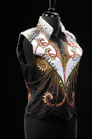 #1303 Ladies M Show Vest Blk/Red/Wt 3202-22