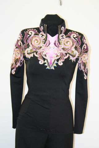SOLD #1315 Black w/Raspberry Show Blouse Ladies M, 3202-32