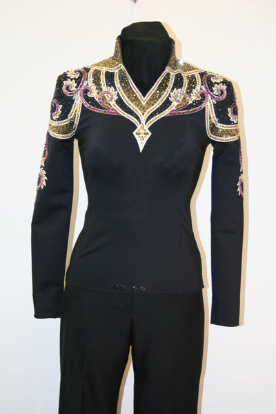 SOLD #1317 Black and Gold Equitation Show Blouse XS