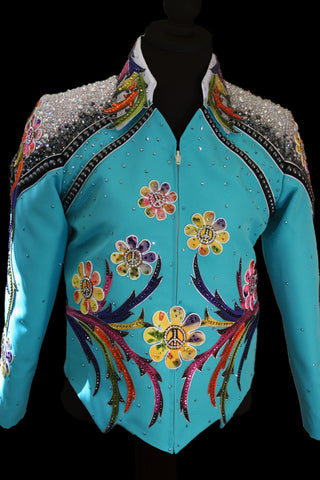 SOLD #1320 Turquoise Show Jacket Showmanship Outfit, Girls L