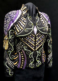 #1411 Black Stretch Western Show Jacket w/Purple,Gold,Bronze, Ladies L, 8019-6
