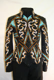 #1428A Black/Turquoise/Bronze Stretch Show Jacket, Ladies M