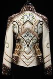 #1430 Ivory/Chocolate Show Jacket w/blue and celery, Ladies M 8019-11