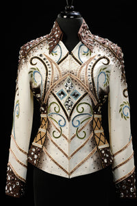 SOLD #1430 Ivory/Chocolate Show Jacket w/blue and celery, Ladies M 8019-11