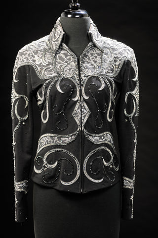 SOLD #1437 Black and Grey Show Jacket, Ladies S