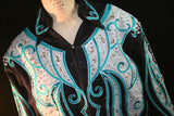 SOLD!!!  Black/Teal/Silver Pleasure or Show Jacket, Ladies XXXL, 1514A
