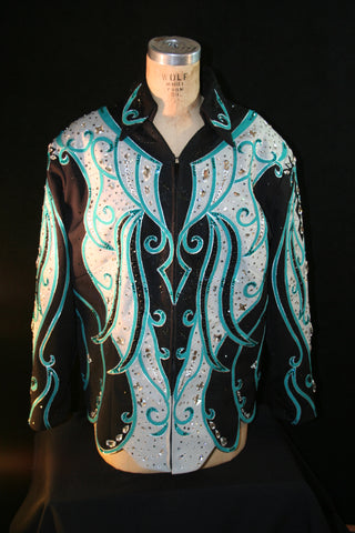 Black/Teal/Silver Pleasure or Show Jacket, Ladies XXXL, 1514A