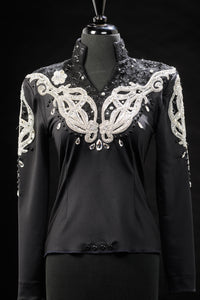 SALE #1599 Black/Silver Show Blouse, Ladies S, 6359-14