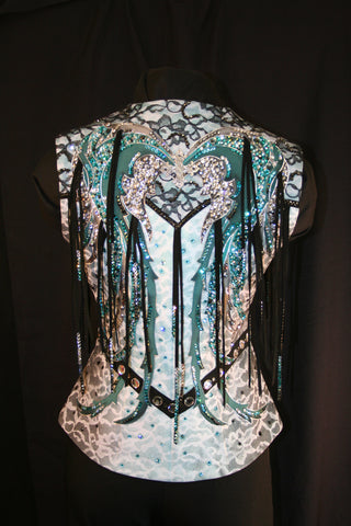 #1605 Show Vest, White withTurquoise and Black Trim, Ladies XS