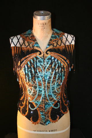 #1609 Show Vests, Ladies M, Stretch Black with Turquoise and Bronze
