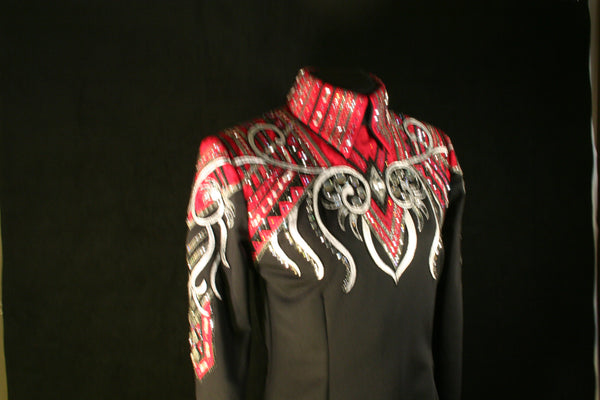 1704 Black Red Gray Equitation Horsemanship Show Blouse, Ladies L 5358-5