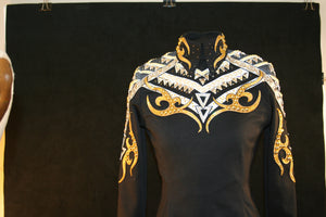 SALE 1705 Black White Gold Horsemanship Equitation Show Blouse, Ladies S 5358-6