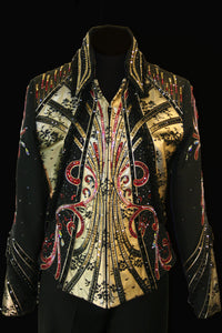 1233 Ladies L, Show Jacket Black/Gold/Red Showmanship/ Pleasure  3203-28