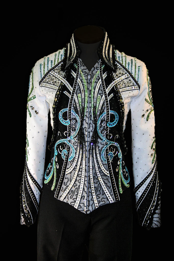 Black/White Show Jacket with Turq and Lime trim, Ladies S 5053B
