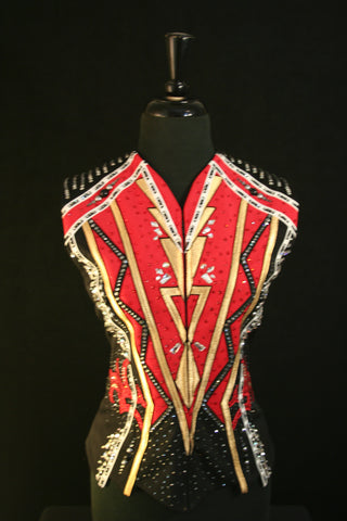 Ladies Show Vest, Blk/Red/Gold, Size M 5311A