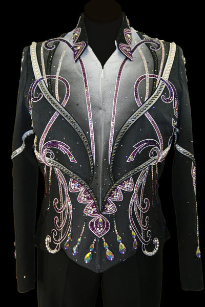 Black/Grey/White/Purple Showmanship Jacket, Ladies XL #25432