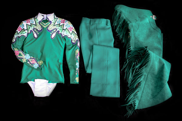 #1314 Emerald Green Show Blouse Horsemanship Outfit, Girls 8, 3202-30