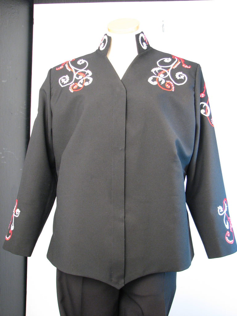 Budget Black w/red Showmanship Jacket, Ladies XXL, 0613-22