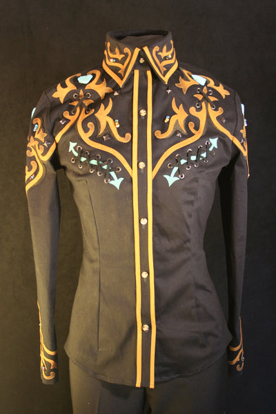 Ladies S,  Black Show Blouse or Shirt, Ranch Riding 27506