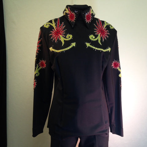 Budget Blouse, Black with Green and red, Ladies L, 1343B
