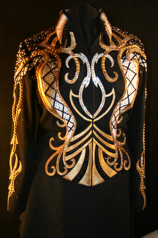 #1600 Black/Gold/White Stretch Show Jacket, Ladies XL #1429A
