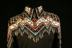 2000 Black Rust Turquoise Show Blouse, Ladies L,  8637-8